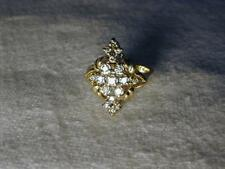 Gorgeous Antique Estate 14K Yellow Gold Filigree Diamond Marquise Cocktail Ring