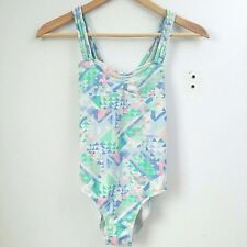 Abercrombie & Fitch Swim Girls Size Large 14 Blue White Green Cross Cage Back B1