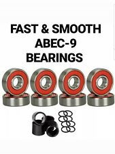 8-Pack Abec-9 Reds Skateboard Bearings with Spacers and Washers (size 8mm/608rs)
