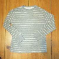 The Childrens Place Boys Shirt Waffle Knit Gray White Striped Pull Over 10 / 12