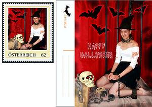 U) Personalized stamp and card HALLOWEEN witch bat  bondage skull AUSTRIA 2014