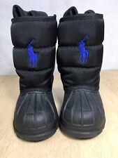 Polo Ralph Lauren Black Blue Embroidered Eskilo Winter Boots Size 6 Toddler