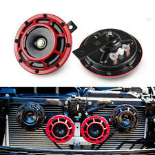 2PCS 12V Electric Horn Red Loud Blast Tone For Car Truck 335-400Hz
