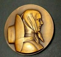1937 Paris French farmer lady Art Deco bronze medal by Georges Guiraud 50mm
