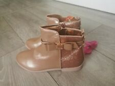TED BAKER Rose & Gold Girls Size UK 2 EU 35 Zip Up Ankle Boots Glitter RRP £40