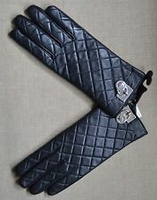 Michael Kors Black Quilted Leather Gloves Silver Mk Symbol L,536585M
