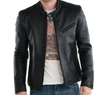 100% Genuine Sheep Leather Mens Jacket Slim Fit Jacket with Zipper on sleeves -