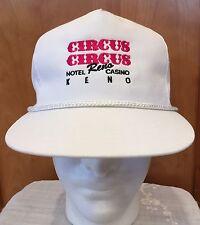 Vintage Trucker Hat Cap Circus Circus Reno Keno White Embroider One Sz Snap Back