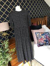ZARA Black White Polka Dot Print Gathered Midi Dress MEDIUM BNWT  Boho BNWT