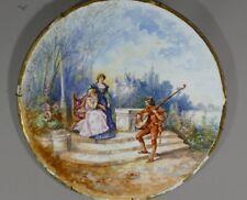 Jean Pouyat, Plat Décoratif En Porcelaine Peinte à La Main, Scène Galante, XIX e