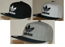 Adidas Men's Originals Trefoil Chain Snapback Hat / Cap Flatbill Grey / Black