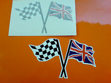CHEQUERED & UNION JACK Flag Motorcycle Helmet Car Stickers Decals 2 off 100mm