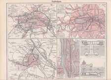 STADTBAHNEN U-Bahn London Berlin New York Wien KARTE von 1897