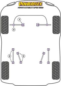 For Toyota STARLET KP60 RWD, Powerflex Suspension Bush Kit [With Camber Bolts]