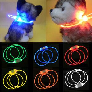 LED Light Up Pet Dog Collar Flashing Luminous Night Safety Adjustable Collar UK