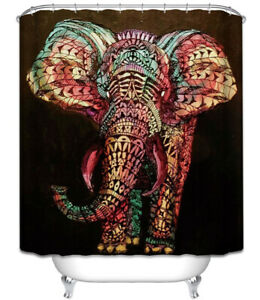Elephant Black Shower Curtain Colorful Tribal Design Pattern