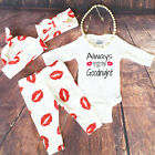 Newborn Baby Boy Girl Long Sleeve Romper+Long Pants Hat 4PCS Outfits Set Clothes