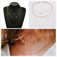 Gold Plated 3 Layer Charm Fashion Women Crystal Tassel Pendant Necklace Jewelry