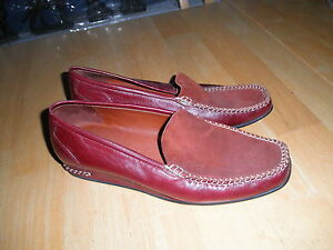 Ladies High End Red Brown Leather SHOE Moccasin Comfortable Work Flat Never Worn