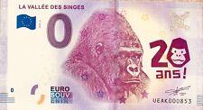 BILLET 0 ZERO EURO SOUVENIR TOURISTIQUE LA VALLEE DES SINGES  2018