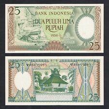 1958 INDONESIA 25 RUPIAH P-57 UNC