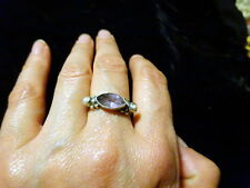 A Vintage Indian Solid Silver Fancy Ring with Amethyst & Pearl