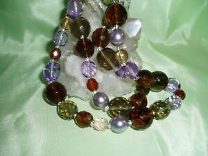 New JOAN RIVERS Pearl, Lavender, Olive Green, Clear Brown / Gold Necklace