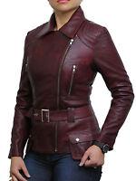 Brandslock Womens  Leather biker Jacket  Fitted  Vintage Retro