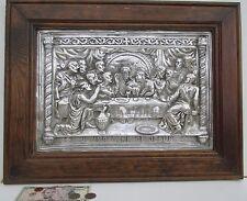 "Large 17 X 23 Framed Cast Aluminum Art ""The Last Supper"""