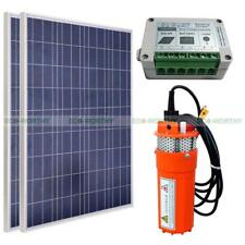 2*100W Solar Panel Kits + 24V Deep Well Water Pump & Controller for Irrigation