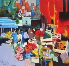 Claude Fauchere~ MARKET SCENE 2 ~France flowers red fruit mouly HS&# serigraph