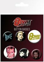 David Bowie pack of 6 round pin badges (ge)