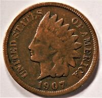 1907 INDIAN HEAD PENNY USA 1 CENT COIN KM# 90a [421]