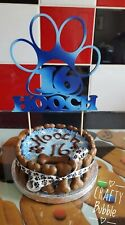 PERSONALISED HAND MADE **WOODEN** pet CAKE TOPPER - ANY NAME/AGE/COLOUR dog cat