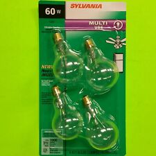 4 - SYLVANIA 60-Watt Clear A15 Vibration Resistant Bulbs Candelabra SMALL BASE