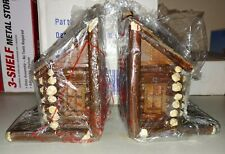 Big Sky Carvers Bookends Log Cabin House Autumn Lodge Rustic Decor New in Box