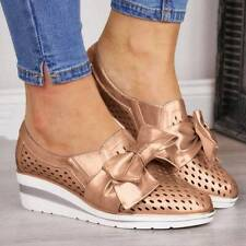 Women Casual Hollow Out Shoes Bowknot Denim Flats Wedge Heel Breathable Sneakers