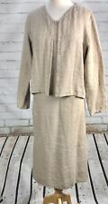 EILEEN FISHER Shift Dress + Cardigan Outfit Set Petite Small PS 100% Linen