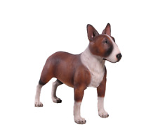Dog Bull Terrier Brown White Resin Statue Standing Display Prop Decor