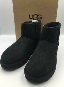 P/O UGG Classic Mini II Boots, Black Suede, Womens 10