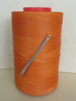 RITZA TIGRE WAXED HAND SEWING THREAD 0.6mm FOR LEATHER/CANVAS  2 NEEDLES ORANGE