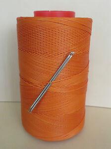 RITZA TIGRE WAXED HAND SEWING THREAD 0.6mm FOR LEATHER  2 NEEDLES ORANGE JK247