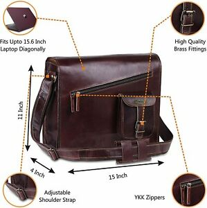 Rustic Handmade Vintage Brown Leather Messenger Cross body Briefcase Laptop Bag