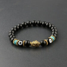 8MM Natural Obsidian Eyes Beads Gold Gasket Charm Buddha Head Fashion Bracelets