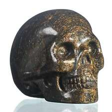 "1.97""Natural  Shimmering Bronze Carved Skull Metaphysic Healing Power #33M03"