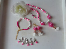 Außergewöhnliche Kette +Armband + Ohrhänger +Engel rosa/weiß Quaste UNIKAT
