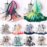 Women Print Satin-Silk Square Scarf Hijab Shawl Beach Stole Head Scarves New