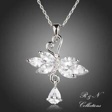 Platinum Plated Swans In Love Swiss Cubic Zirconia Pendant Necklace (N386-25)
