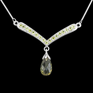 UNHEATED NATURAL 13X7MM GREEN AMETHYST & PERIDOT GEMSTONE SILVER 925 NECKLACE