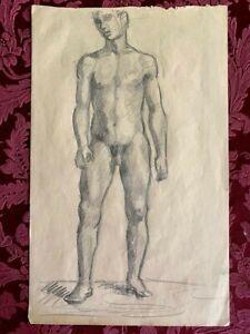 "American, Academic Drawing ""Male Nude"", 13""W X 8""H, 1930s"